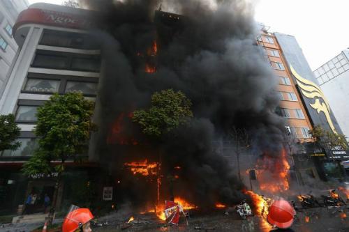 hình ảnh quán karaoke bị cháy