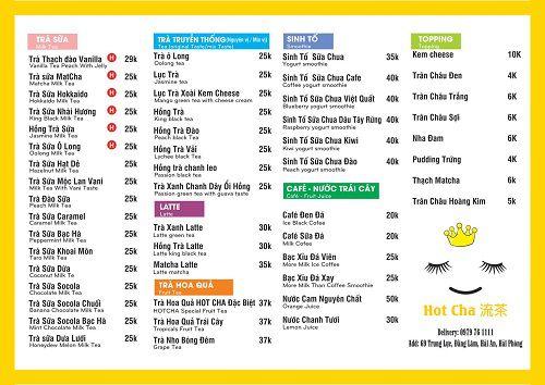 menu đồ uống quán trà sữa hotcha hải phòng