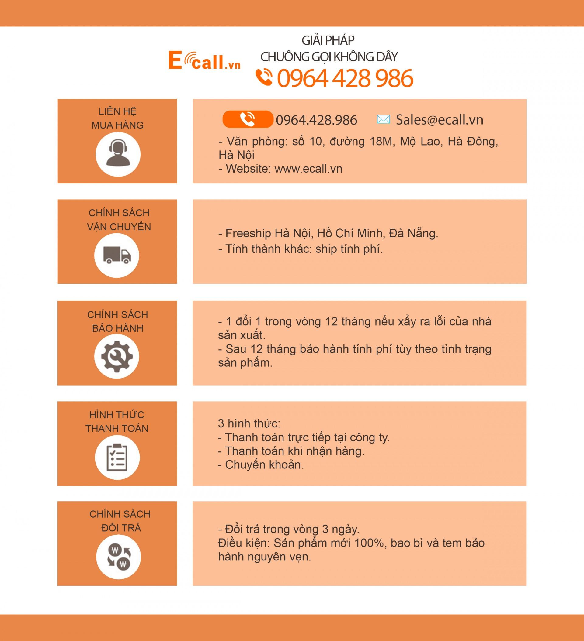 Thông tin và chính sách của Ecall