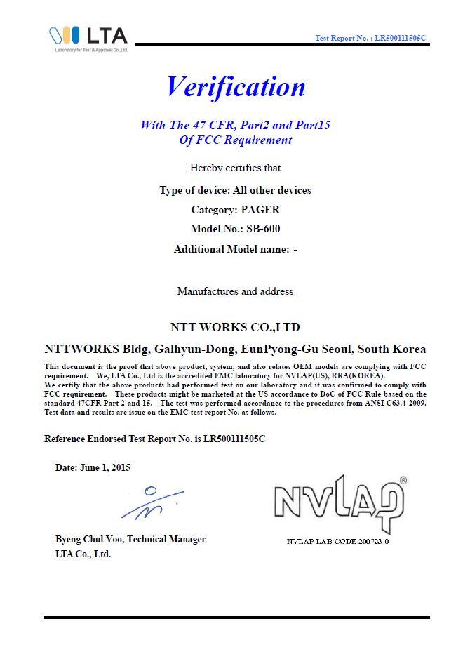 giáy chứng nhận tiêu chuẩn chất lượng FCC cho SB-600