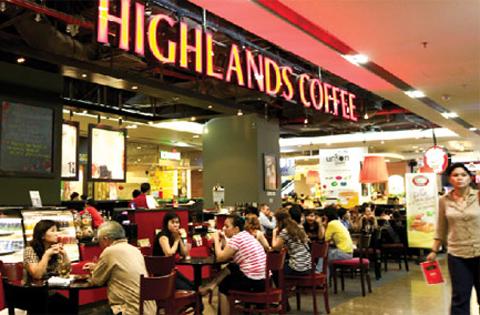 hệ thống cửa hàng Highlands Coffee tại tòa nhà cao ốc