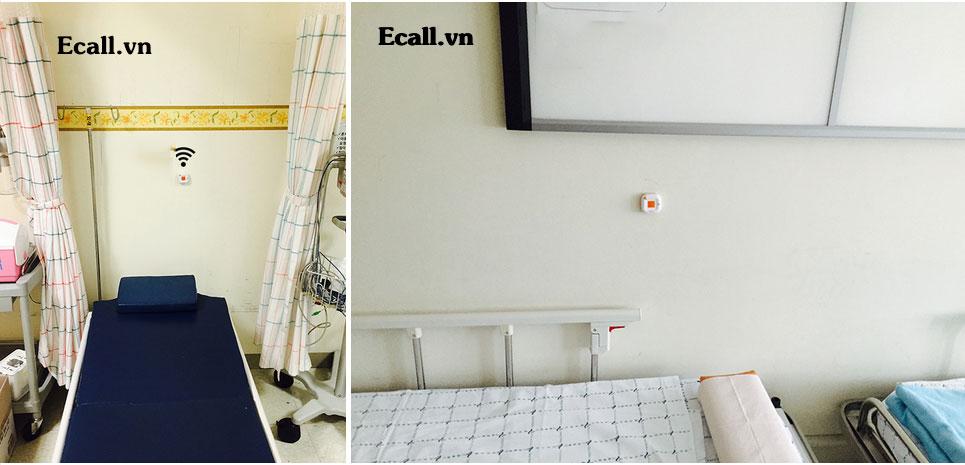 nút chuông gọi y tá được lắp đặt tại đầu giường bệnh