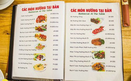 hình ảnh thực đơn các món ăn tại nhà hàng quốc hương
