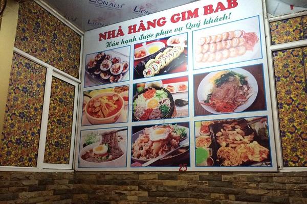 các món ăn tại nhà hàng gimbab hàn quốc