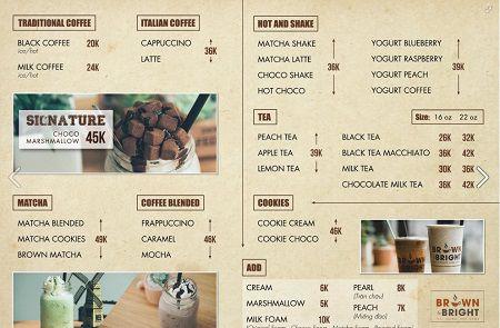 thực đơn tại quán cafe Brown & Bright Coffee