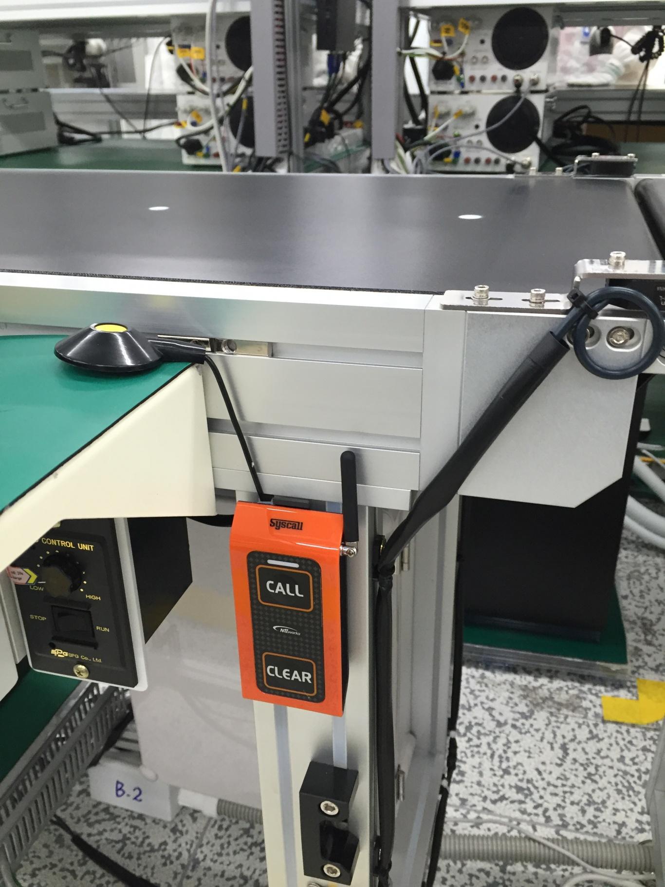 Hình ảnh nút chuông gọi phục vụ st-500 được lắp đặt tại mỗi dây truyền sản xuất  của công ty Mabuchi Motor
